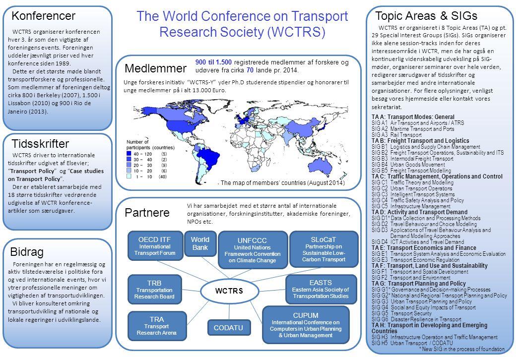 Topic Areas & SIGs Bidrag Tidsskrifter Partnere The World Conference on Transport Research Society (WCTRS) Medlemmer WCTRS er organiseret i 8 Topic Areas (TA) og pt.