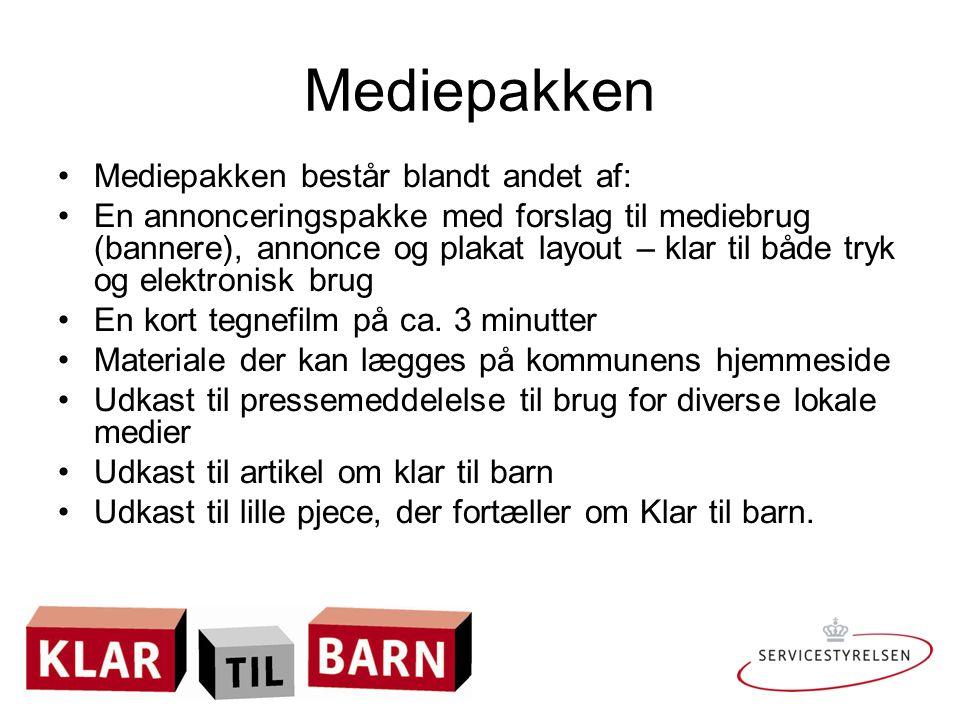 Mediepakken Mediepakken består blandt andet af: En annonceringspakke med forslag til mediebrug (bannere), annonce og plakat layout – klar til både tryk og elektronisk brug En kort tegnefilm på ca.