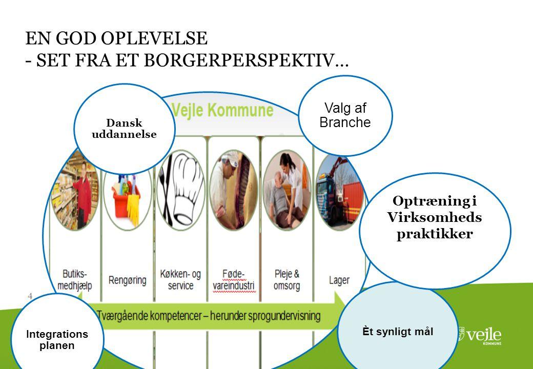 4 EN GOD OPLEVELSE - SET FRA ET BORGERPERSPEKTIV… Valg af Branche Èt synligt mål Integrations planen Dansk uddannelse Optræning i Virksomheds praktikker