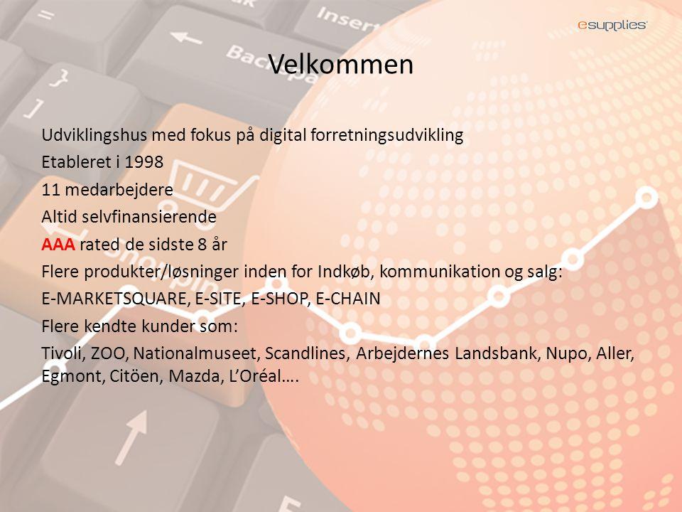 Velkommen Udviklingshus med fokus på digital forretningsudvikling Etableret i 1998 11 medarbejdere Altid selvfinansierende AAA rated de sidste 8 år Flere produkter/løsninger inden for Indkøb, kommunikation og salg: E-MARKETSQUARE, E-SITE, E-SHOP, E-CHAIN Flere kendte kunder som: Tivoli, ZOO, Nationalmuseet, Scandlines, Arbejdernes Landsbank, Nupo, Aller, Egmont, Citöen, Mazda, L'Oréal….