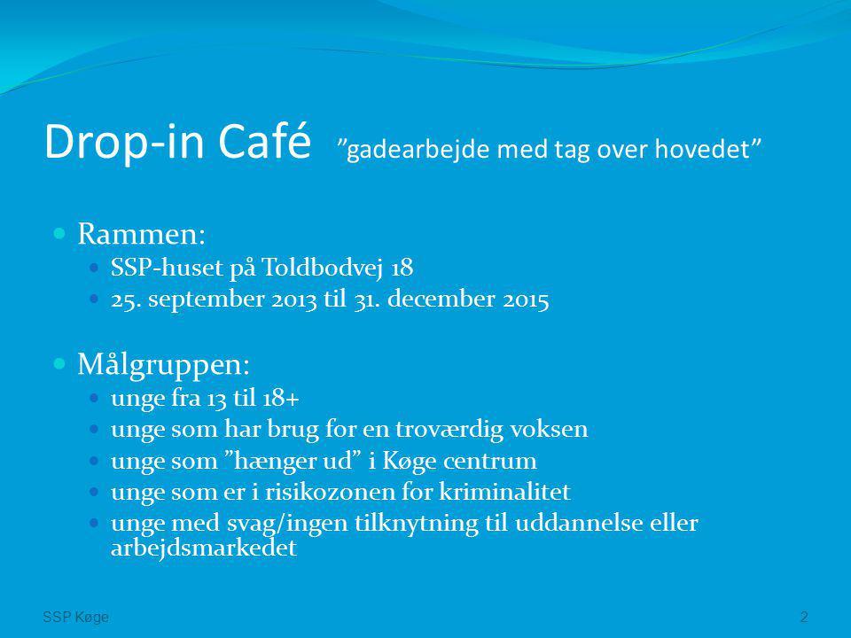 SSP Køge2 Drop-in Café gadearbejde med tag over hovedet Rammen: SSP-huset på Toldbodvej 18 25.
