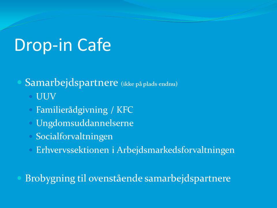 Drop-in Cafe Samarbejdspartnere (ikke på plads endnu) UUV Familierådgivning / KFC Ungdomsuddannelserne Socialforvaltningen Erhvervssektionen i Arbejdsmarkedsforvaltningen Brobygning til ovenstående samarbejdspartnere