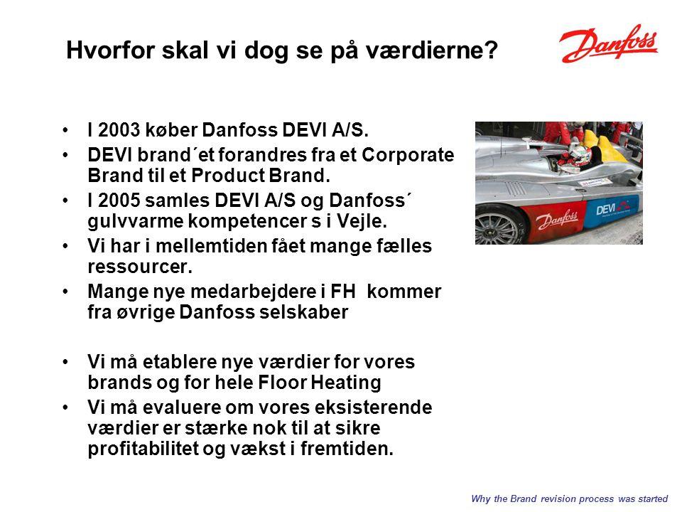 Hvorfor skal vi dog se på værdierne. I 2003 køber Danfoss DEVI A/S.