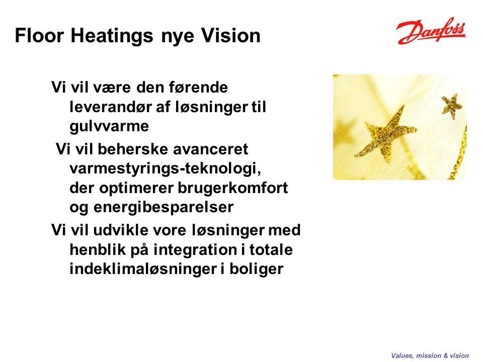 Vi vil være den førende leverandør af løsninger til gulvvarme Vi vil beherske avanceret varmestyrings-teknologi, der optimerer brugerkomfort og energibesparelser Vi vil udvikle vore løsninger med henblik på integration i totale indeklimaløsninger i boliger Values, mission & vision Floor Heatings nye Vision