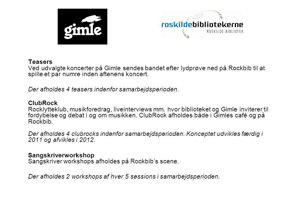 Teasers Ved udvalgte koncerter på Gimle sendes bandet efter lydprøve ned på Rockbib til at spille et par numre inden aftenens koncert.