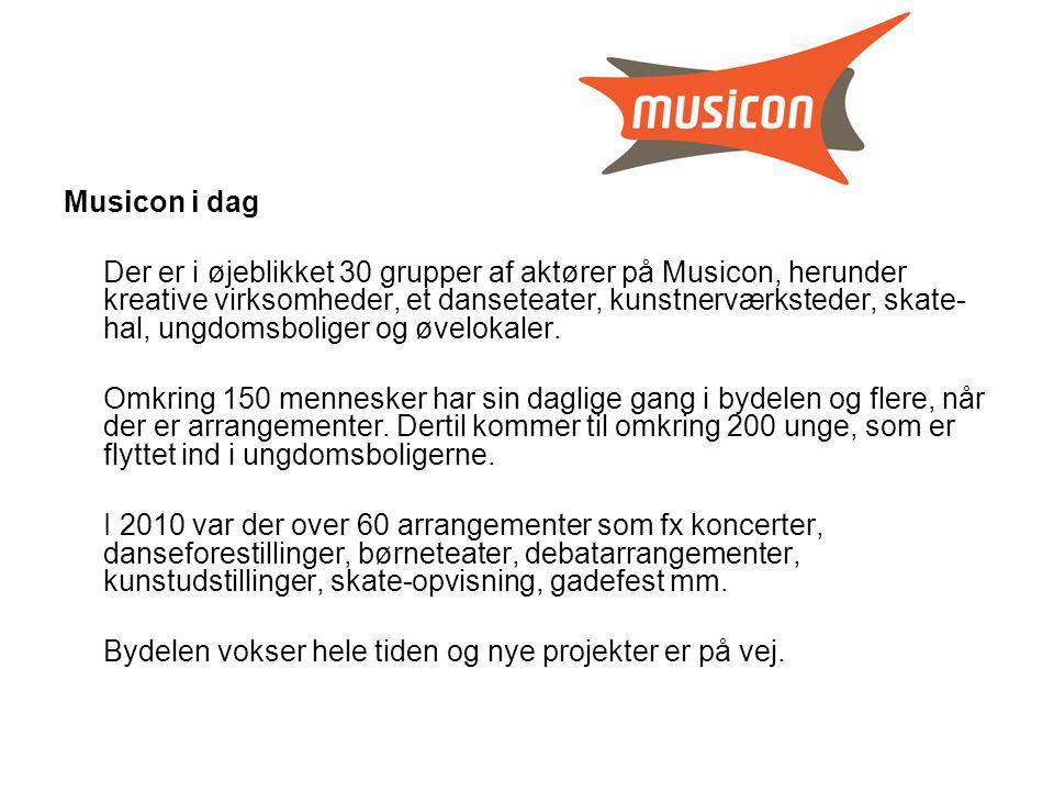 Musicon i dag Der er i øjeblikket 30 grupper af aktører på Musicon, herunder kreative virksomheder, et danseteater, kunstnerværksteder, skate- hal, ungdomsboliger og øvelokaler.