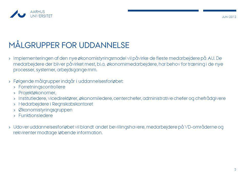 JUNI 2012 AARHUS UNIVERSITET MÅLGRUPPER FOR UDDANNELSE › Implementeringen af den nye økonomistyringsmodel vil påvirke de fleste medarbejdere på AU.