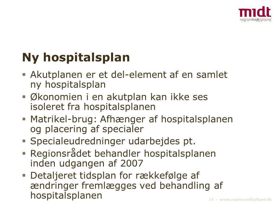 14 ▪ www.regionmidtjylland.dk Ny hospitalsplan  Akutplanen er et del-element af en samlet ny hospitalsplan  Økonomien i en akutplan kan ikke ses isoleret fra hospitalsplanen  Matrikel-brug: Afhænger af hospitalsplanen og placering af specialer  Specialeudredninger udarbejdes pt.
