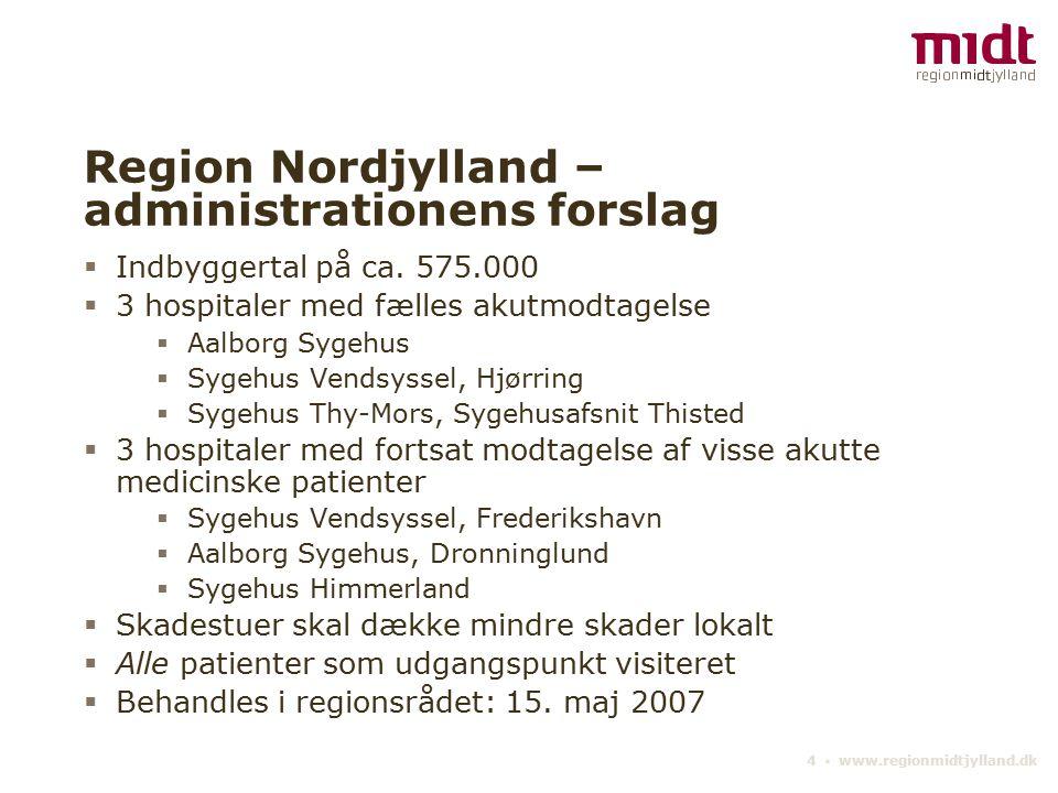 4 ▪ www.regionmidtjylland.dk Region Nordjylland – administrationens forslag  Indbyggertal på ca.