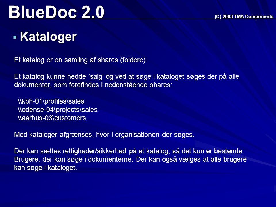 BlueDoc 2.0  Kataloger (C) 2003 TMA Components Et katalog er en samling af shares (foldere).
