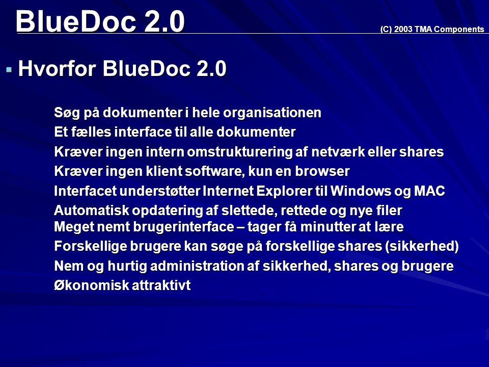 BlueDoc 2.0  Hvorfor BlueDoc 2.0 Søg på dokumenter i hele organisationen Et fælles interface til alle dokumenter Kræver ingen intern omstrukturering af netværk eller shares Kræver ingen klient software, kun en browser Interfacet understøtter Internet Explorer til Windows og MAC Automatisk opdatering af slettede, rettede og nye filer Meget nemt brugerinterface – tager få minutter at lære Forskellige brugere kan søge på forskellige shares (sikkerhed) Nem og hurtig administration af sikkerhed, shares og brugere Økonomisk attraktivt (C) 2003 TMA Components
