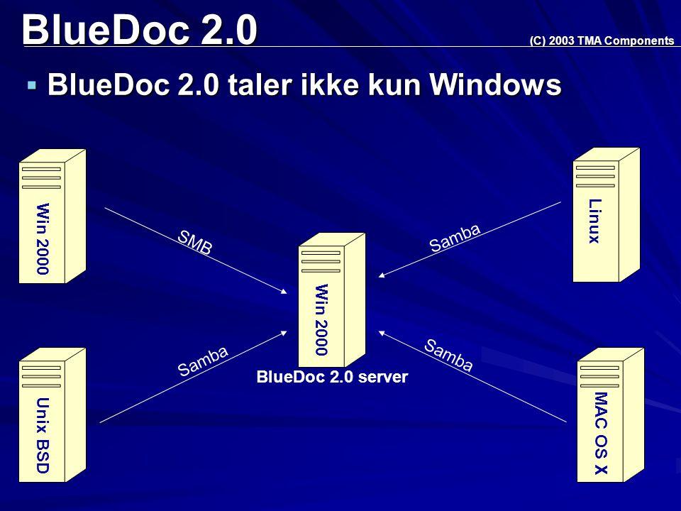 BlueDoc 2.0  BlueDoc 2.0 taler ikke kun Windows (C) 2003 TMA Components BlueDoc 2.0 server Win 2000 Unix BSD Linux MAC OS X Samba SMB Win 2000