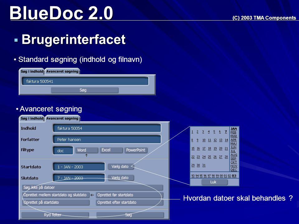 BlueDoc 2.0  Brugerinterfacet (C) 2003 TMA Components Standard søgning (indhold og filnavn) Avanceret søgning Hvordan datoer skal behandles