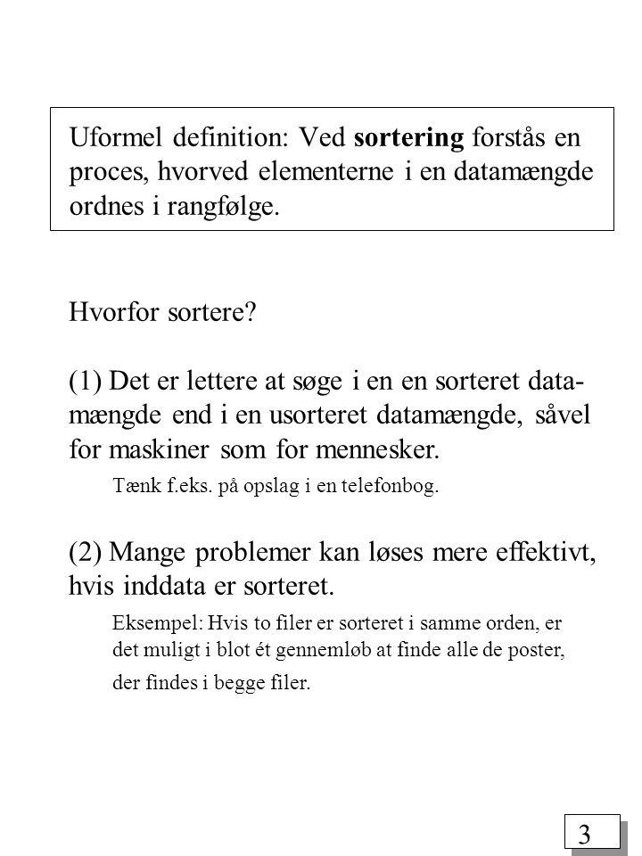 3 Uformel definition: Ved sortering forstås en proces, hvorved elementerne i en datamængde ordnes i rangfølge.