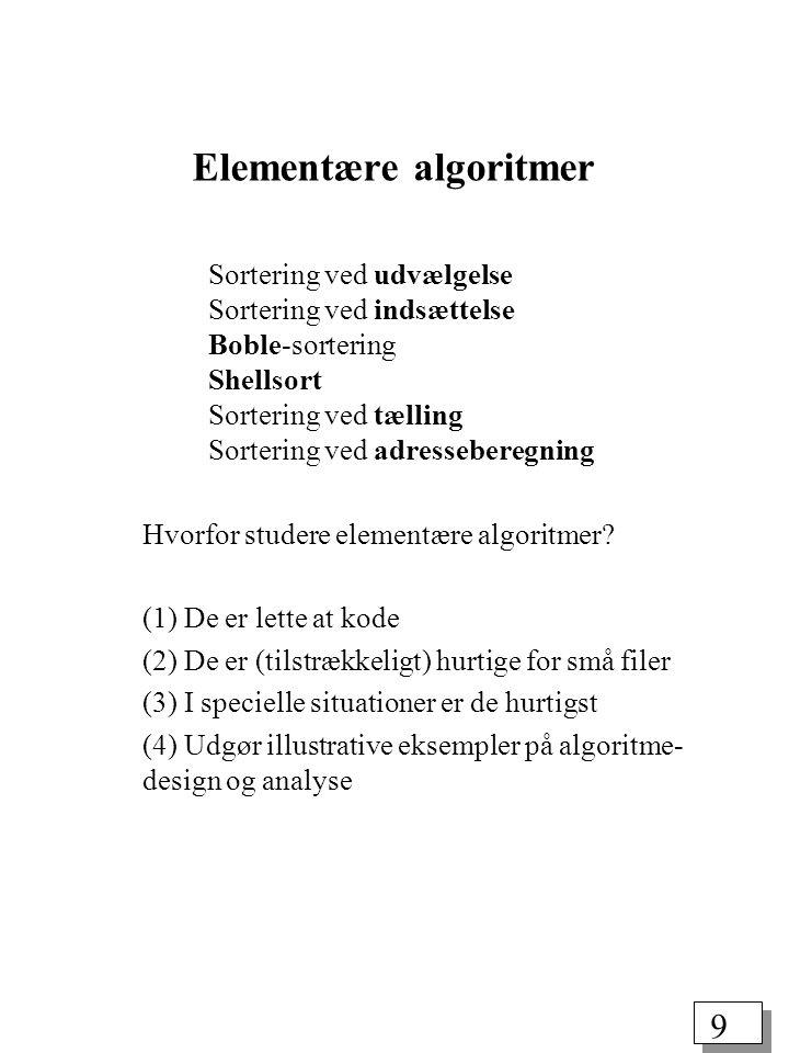 9 Elementære algoritmer Sortering ved udvælgelse Sortering ved indsættelse Boble-sortering Shellsort Sortering ved tælling Sortering ved adresseberegning Hvorfor studere elementære algoritmer.