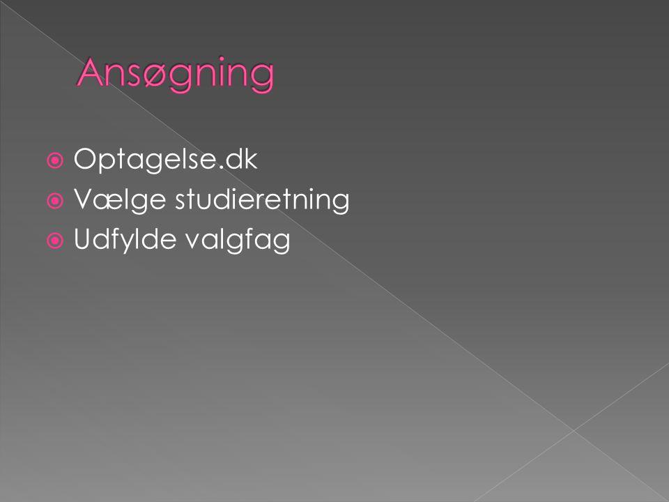  Optagelse.dk  Vælge studieretning  Udfylde valgfag