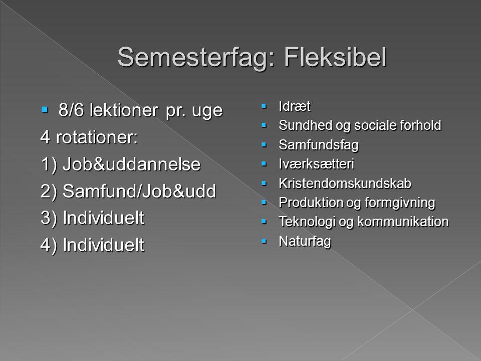 Semesterfag: Fleksibel  8/6 lektioner pr.