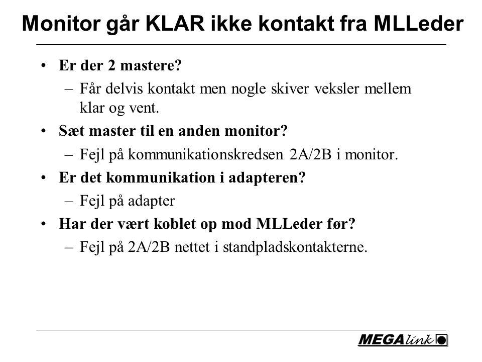 Monitor går KLAR ikke kontakt fra MLLeder Er der 2 mastere.