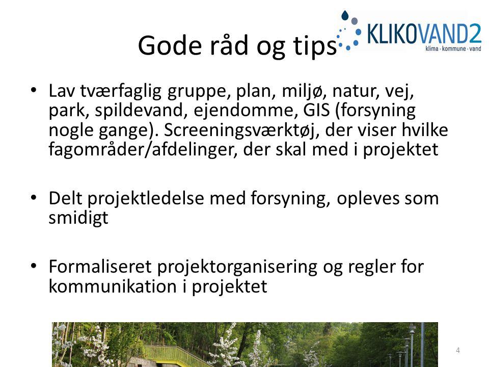 Gode råd og tips Lav tværfaglig gruppe, plan, miljø, natur, vej, park, spildevand, ejendomme, GIS (forsyning nogle gange).