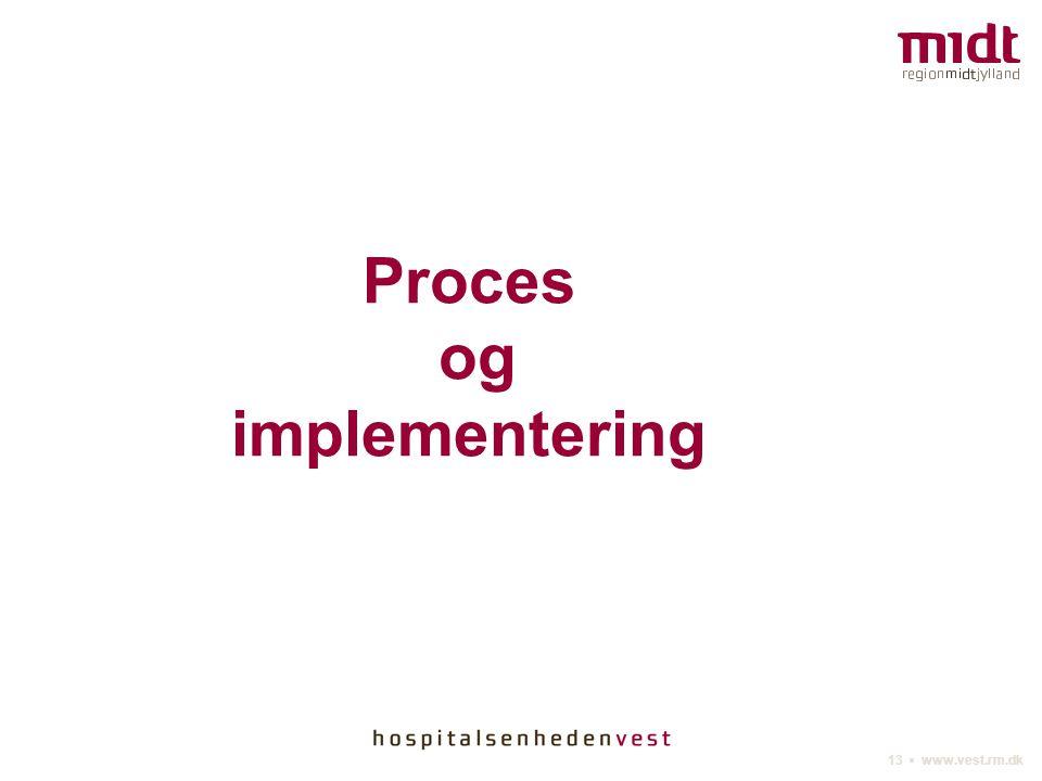 13 ▪ www.vest.rm.dk Proces og implementering