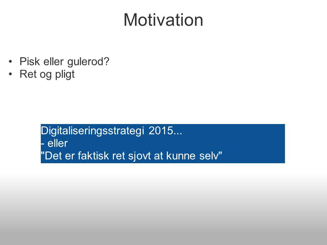 Motivation Pisk eller gulerod. Ret og pligt Bibliotekerne Digitaliseringsstrategi 2015...
