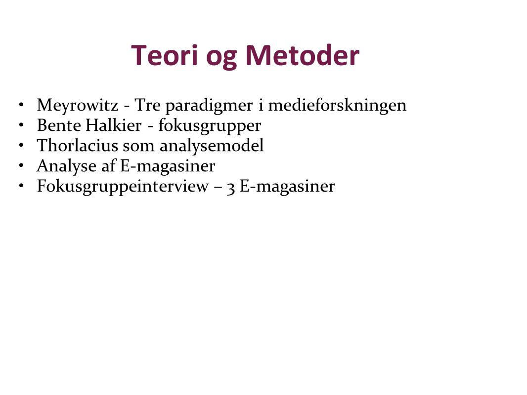 Teori og Metoder Meyrowitz - Tre paradigmer i medieforskningen Bente Halkier - fokusgrupper Thorlacius som analysemodel Analyse af E-magasiner Fokusgruppeinterview – 3 E-magasiner
