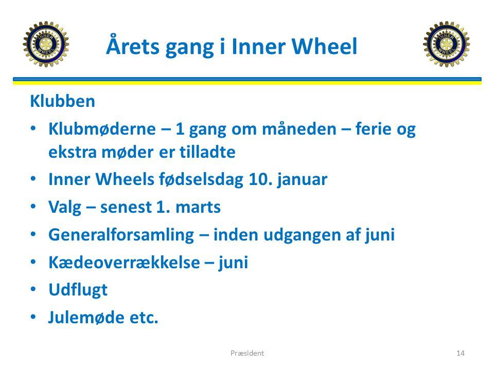 Årets gang i Inner Wheel Klubben Klubmøderne – 1 gang om måneden – ferie og ekstra møder er tilladte Inner Wheels fødselsdag 10.