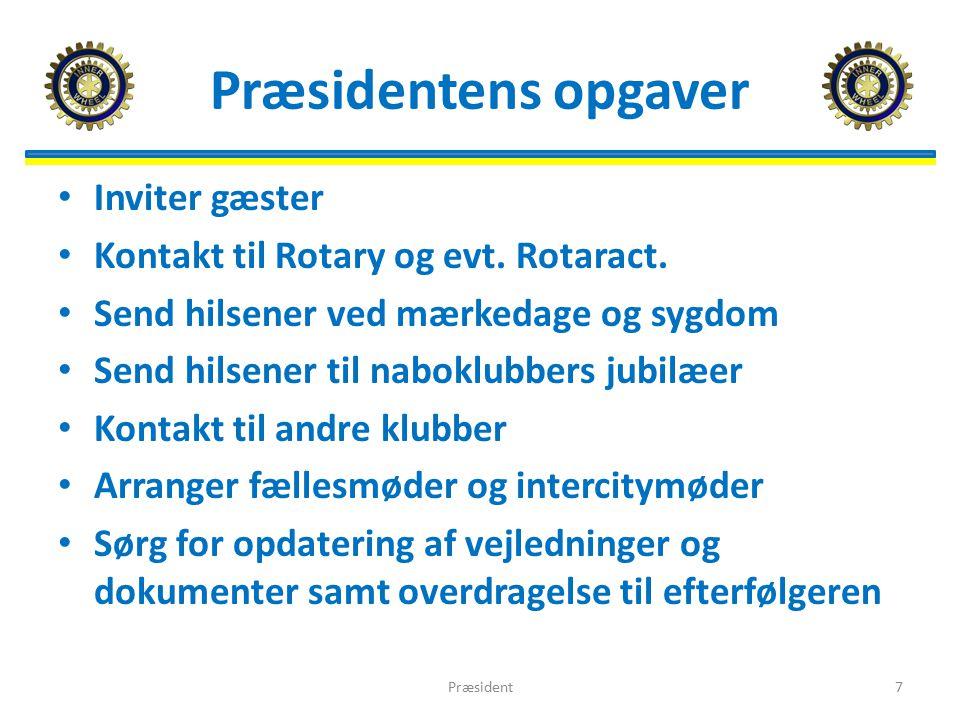 Præsidentens opgaver Inviter gæster Kontakt til Rotary og evt.