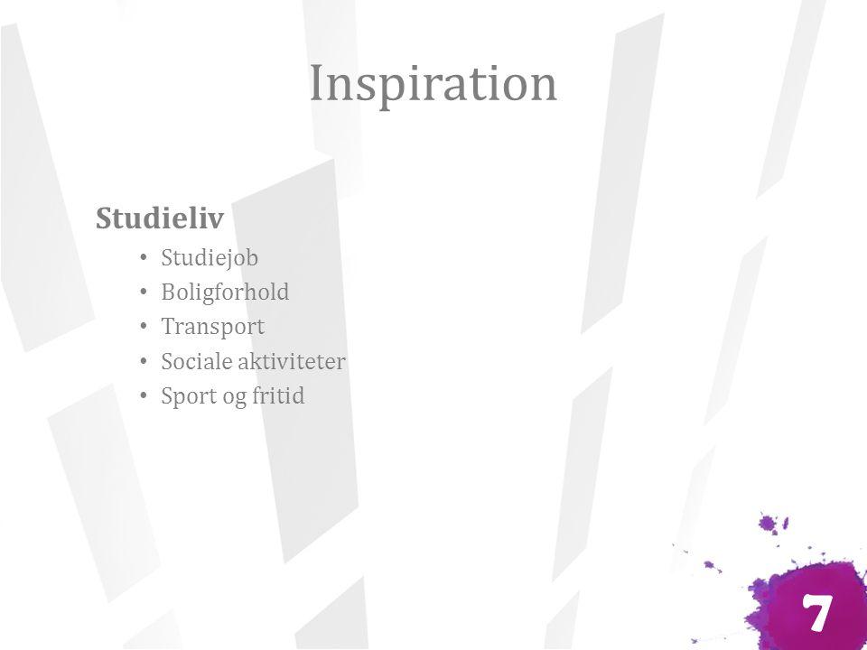 Inspiration Studieliv Studiejob Boligforhold Transport Sociale aktiviteter Sport og fritid 7