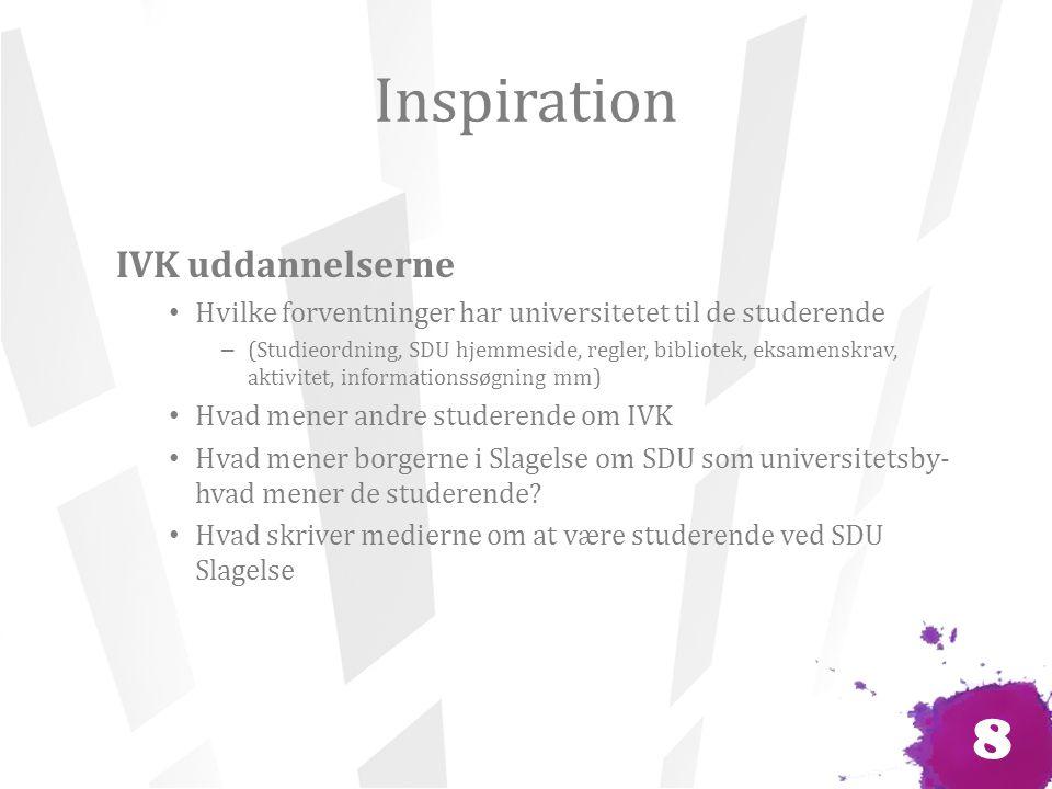 Inspiration IVK uddannelserne Hvilke forventninger har universitetet til de studerende – (Studieordning, SDU hjemmeside, regler, bibliotek, eksamenskrav, aktivitet, informationssøgning mm) Hvad mener andre studerende om IVK Hvad mener borgerne i Slagelse om SDU som universitetsby- hvad mener de studerende.