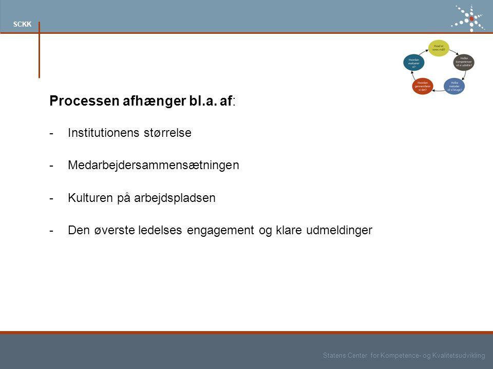 Statens Center for Kompetence- og Kvalitetsudvikling SCKK Processen afhænger bl.a.