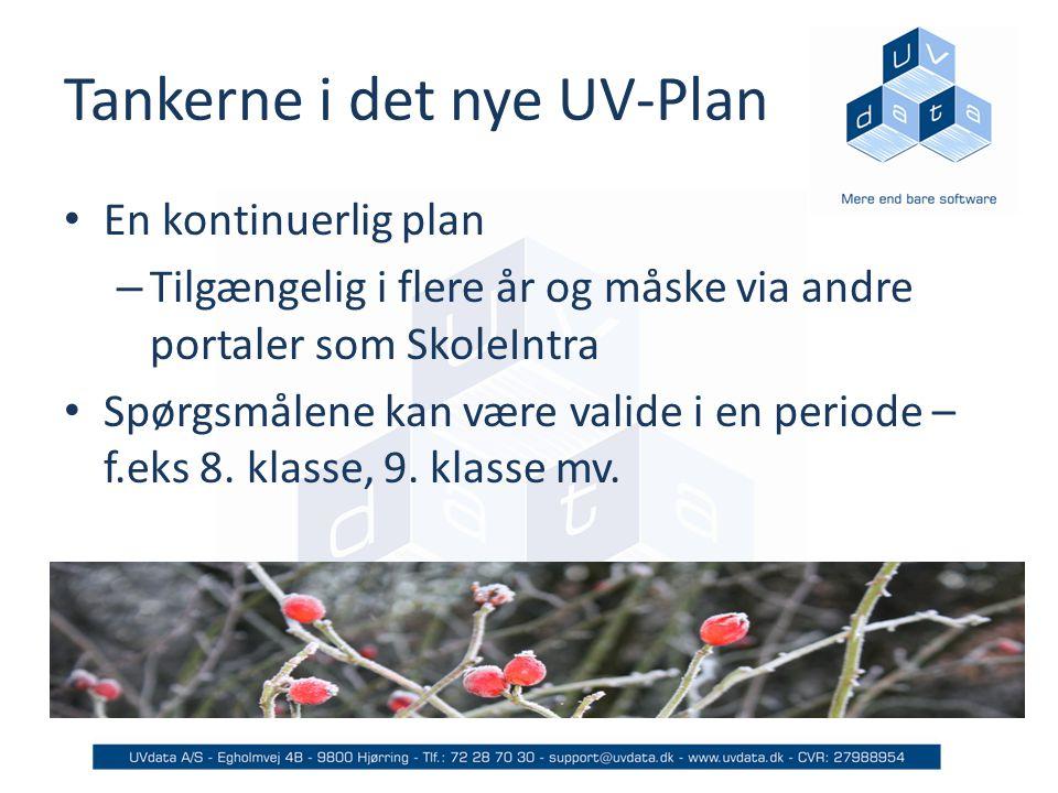 Tankerne i det nye UV-Plan En kontinuerlig plan – Tilgængelig i flere år og måske via andre portaler som SkoleIntra Spørgsmålene kan være valide i en periode – f.eks 8.