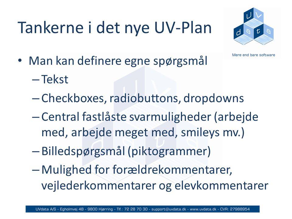 Tankerne i det nye UV-Plan Man kan definere egne spørgsmål – Tekst – Checkboxes, radiobuttons, dropdowns – Central fastlåste svarmuligheder (arbejde med, arbejde meget med, smileys mv.) – Billedspørgsmål (piktogrammer) – Mulighed for forældrekommentarer, vejlederkommentarer og elevkommentarer