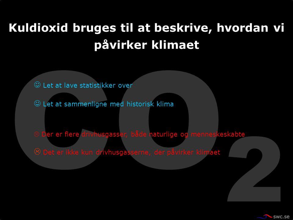 CO 2 Let at lave statistikker over Let at sammenligne med historisk klima  Der er flere drivhusgasser, både naturlige og menneskeskabte  Det er ikke