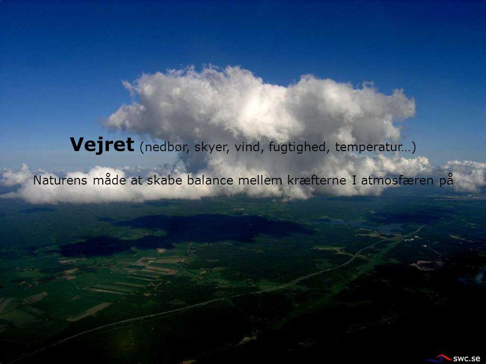 Vejret (nedbør, skyer, vind, fugtighed, temperatur…) Naturens måde at skabe balance mellem kræfterne I atmosfæren på