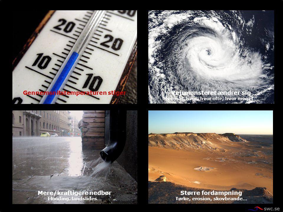 Vejrmønsteret ændrer sig Hvornår, hvor, hvor ofte, hvor meget… Gennemsnitstemperaturen stiger Mere/kraftigere nedbør Flooding, landslides… Større ford