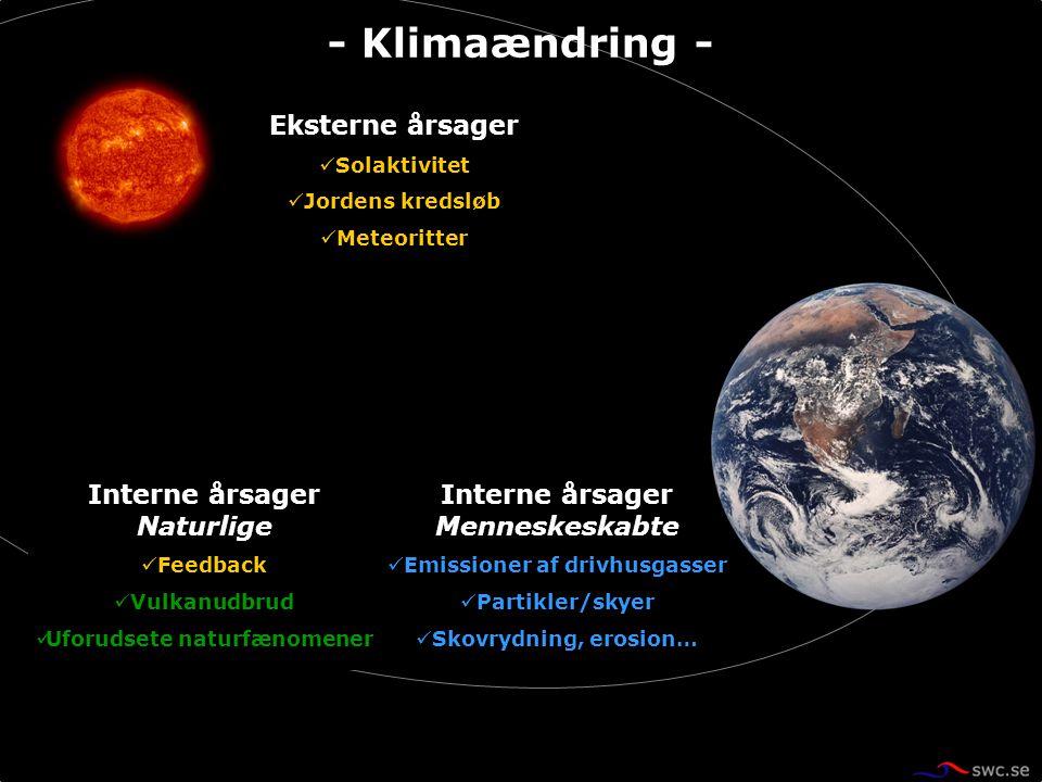 Eksterne årsager Solaktivitet Jordens kredsløb Meteoritter Interne årsager Menneskeskabte Emissioner af drivhusgasser Partikler/skyer Skovrydning, ero