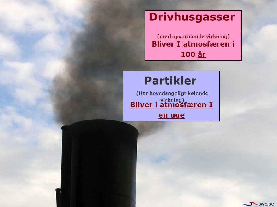 Drivhusgasser Partikler Bliver i atmosfæren I en uge Bliver I atmosfæren i 100 år (Har hovedsageligt kølende virkning) (med opvarmende virkning)