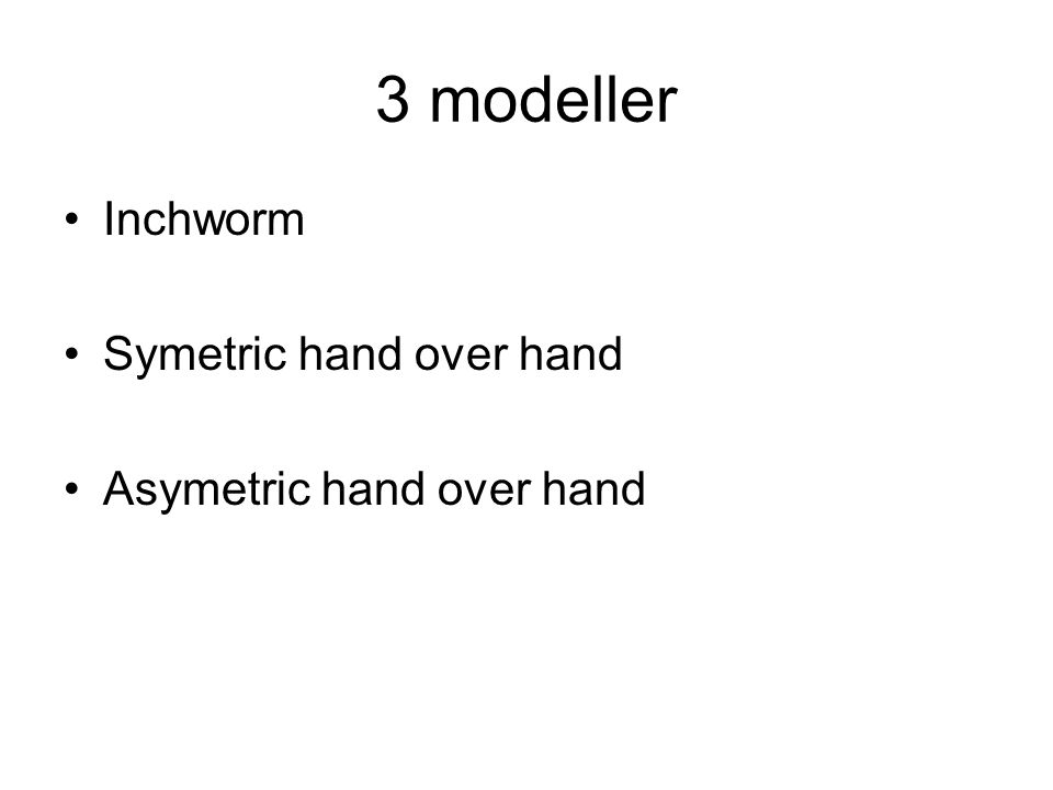 3 modeller Inchworm Symetric hand over hand Asymetric hand over hand