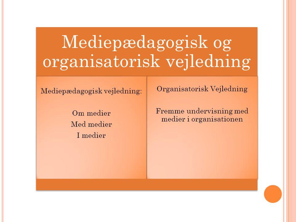 Mediepædagogisk og organisatorisk vejledning Mediepædagogisk vejledning: Om medier Med medier I medier Organisatorisk Vejledning Fremme undervisning med medier i organisationen