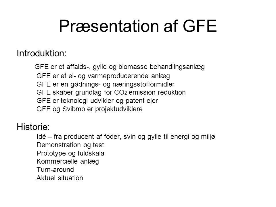 Præsentation af GFE Introduktion: GFE er et affalds-, gylle og biomasse behandlingsanlæg GFE er et el- og varmeproducerende anlæg GFE er en gødnings- og næringsstofformidler GFE skaber grundlag for CO 2 emission reduktion GFE er teknologi udvikler og patent ejer GFE og Svibmo er projektudviklere Historie: Idé – fra producent af foder, svin og gylle til energi og miljø Demonstration og test Prototype og fuldskala Kommercielle anlæg Turn-around Aktuel situation