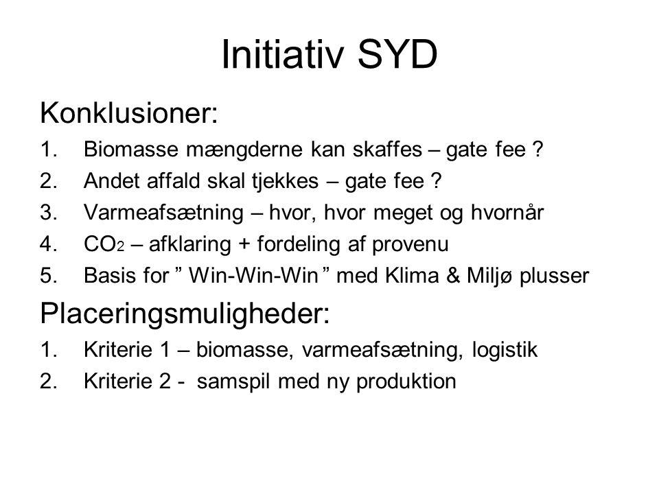 Initiativ SYD Konklusioner: 1.Biomasse mængderne kan skaffes – gate fee .