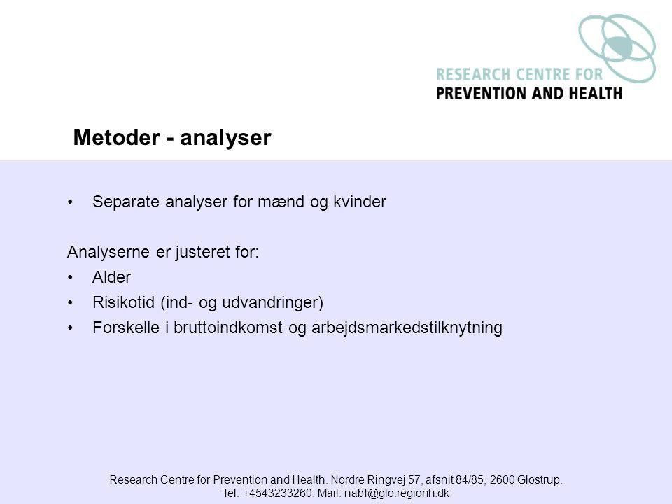 Separate analyser for mænd og kvinder Analyserne er justeret for: Alder Risikotid (ind- og udvandringer) Forskelle i bruttoindkomst og arbejdsmarkedstilknytning Research Centre for Prevention and Health.