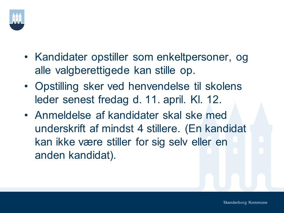 Skanderborg Kommune Valget 2014 Der skal vælges 5 forældre der repræsenterer skole/SFO og 3 forældre som repræsenterer Nordlyset (samt 2 medarbejderrepræsentanter fra skole/SFO og 1 medarbejderrepræsentant fra Nordlyset og 2 elevrepræsentanter, alle har stemmeret).