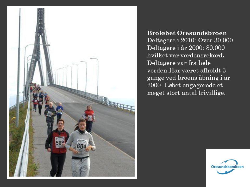 Broløbet Øresundsbroen Deltagere i 2010: Over 30.000 Deltagere i år 2000: 80.000 hvilket var verdensrekord.