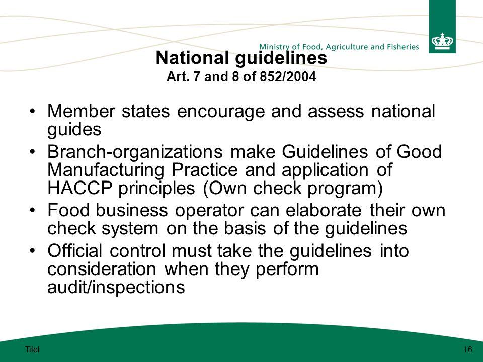 Titel 16 National guidelines Art.