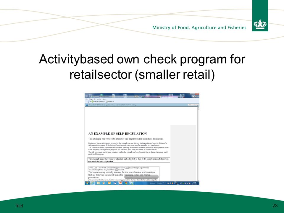 Activitybased own check program for retailsector (smaller retail) Titel28