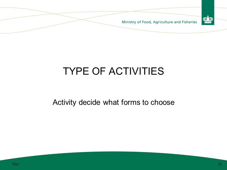 TYPE OF ACTIVITIES Activity decide what forms to choose Titel35