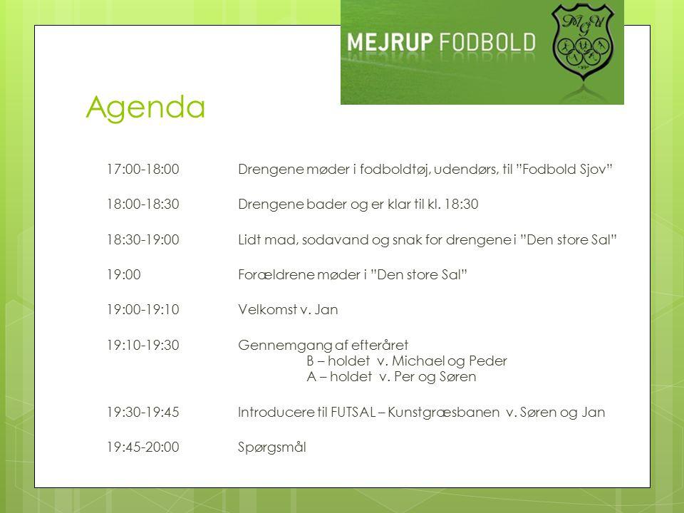 Agenda 17:00-18:00Drengene møder i fodboldtøj, udendørs, til Fodbold Sjov 18:00-18:30Drengene bader og er klar til kl.