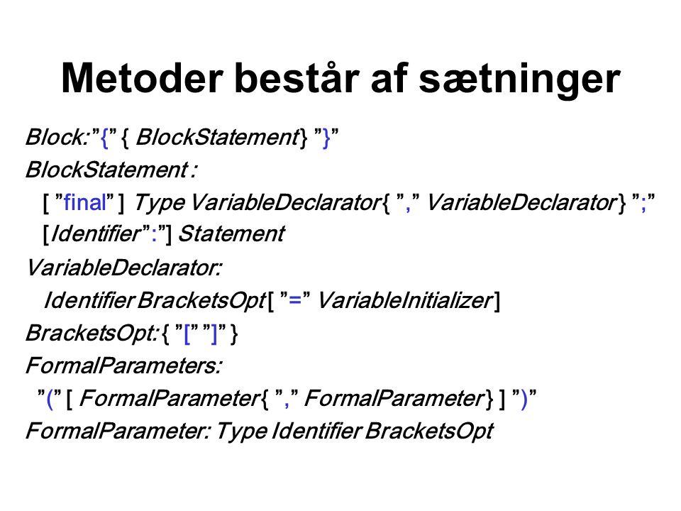 Metoder består af sætninger Block: { { BlockStatement } } BlockStatement : [ final ] Type VariableDeclarator { , VariableDeclarator } ; [Identifier : ] Statement VariableDeclarator: Identifier BracketsOpt [ = VariableInitializer ] BracketsOpt: { [ ] } FormalParameters: ( [ FormalParameter { , FormalParameter } ] ) FormalParameter: Type Identifier BracketsOpt